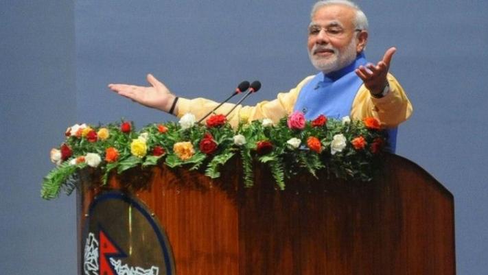 नेपाल भ्रमणमा आएका बेला संसदमा भारतीय प्रधानमन्त्री मोदी